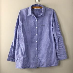 Zara striped button front whatever shirt